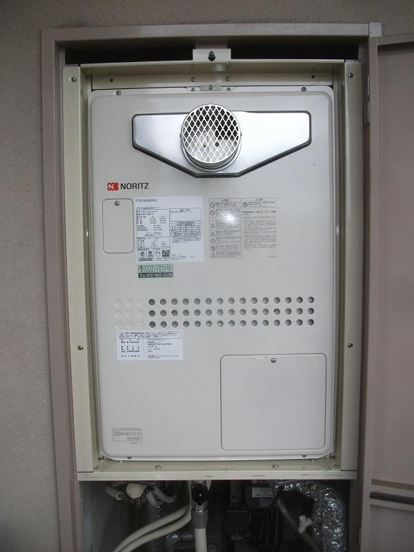 ノーリツ製ガス給湯器へスピード交換 大阪府交野市